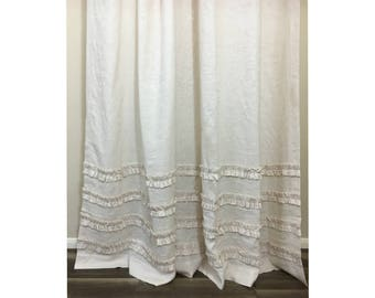 Cream Linen Shower Curtain with 4 Rows of Ruffles – Stunning! 72x72, 72x85, 72x94, 72x72, or Custom Size