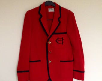 Vintage 1970s Wool Blazer by Beau Brummel in Red with Black Braid and Badge