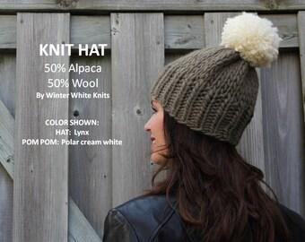 KNIT ALPACA HAT, pom pom hat, Alpaca/wool knit hat, pom pom winter hat, handknit hat, 50/50 Alpaca/wool hat, so soft and cozy, suggly soft