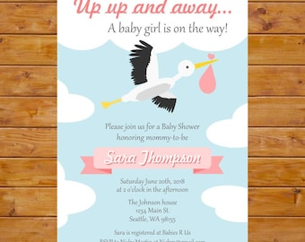 Stork Baby Shower Invitation - Up Up and Away Invitation - Girl Baby Shower Invitation - Printable, Custom, Digital File