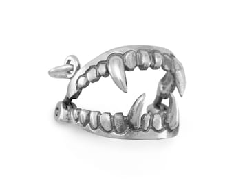 Vampire Fangs Charm 925 Sterling Silver Pendant movable monster animal teeth