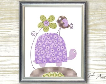 Nursery Art Print purple and green nursery - baby nursery - kids room decor - nursery wall art - turtle nursery - Purple - Walking Together