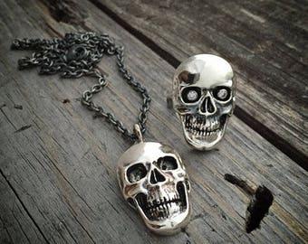 Sterling Silver Skull Pendant Skull Ring Handmade Wild Prairie Silver Jewelry Joy Kruse