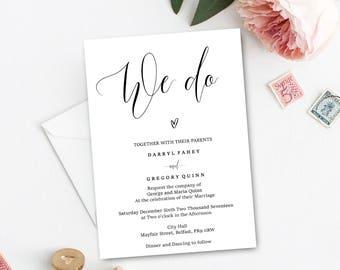 We do, chic editable wedding invitation pdf, printable wedding invite, instant download, editable wedding invite, PDF instant