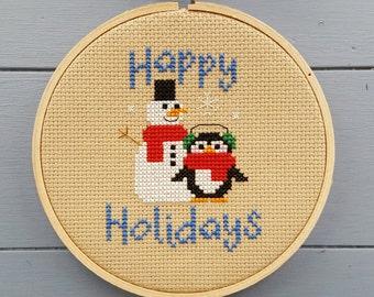 Happy Holidays - cross stitch pattern only.