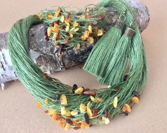 Jewellery Set Green Linen With Baltic Amber Bracelet Necklace Earring Raw Amber Natural Linen Kit Natural Fashion Boho Style Simply Jewelry