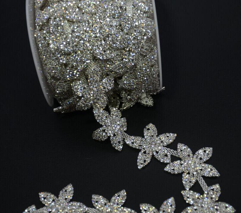 1Yard lot costum trims crafts silver flower top A crystal rhinestone chain  hair dress collar garment sewing applique from buttonamazing on Etsy Studio bd3ec4be5332