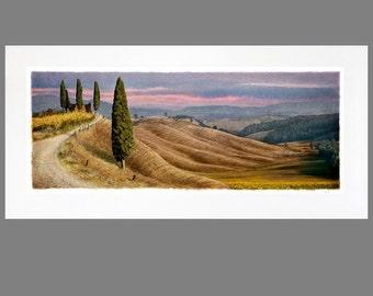 Alle toskanischen 22 x 46 verfilzt Panorama Fine Art Print (vier Cypress gezeigt)
