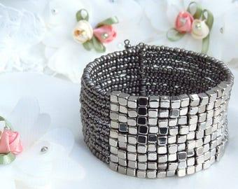 Beaded Cuff Bracelet, Wide Beaded Cuff Bracelet, Boho Chic, 3 Colors, Steel Grey, Turquoise, Beige, Adjustable, Trendy, Versatile, Stylish