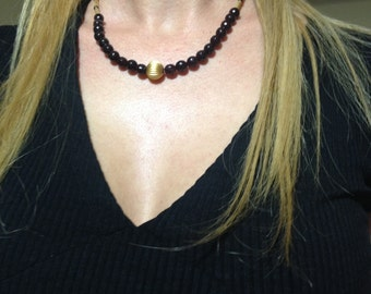 Gemstone necklace, Granite necklace, Brown necklace, gift idea, gift for her