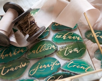 "2""-3"" Green Agate Slices Name Cards (DO NOT PURCHASE-20 minimum)"