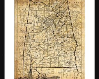 Alabama Map - Print - Poster