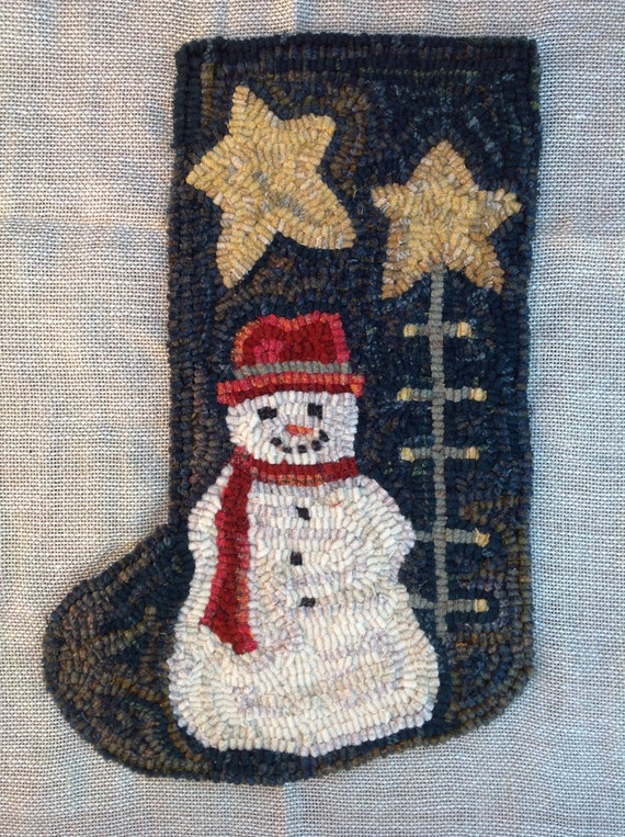 Rug Hooking PATTERN, Snowman and Tree  Stocking, J991, Christmas Stocking, DIY Rug Hooked Stocking