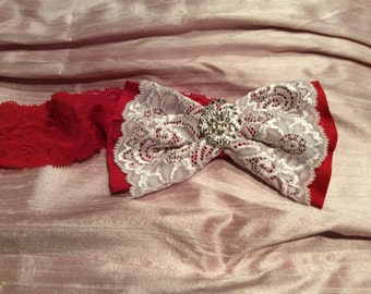 Silk and lace hair bow