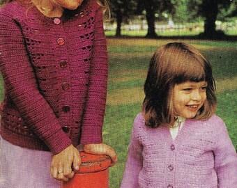4172S girls cardigan crochet vintage pattern PDF instant download