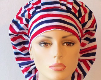 Scrub Hats/Red White and Blue Stripe Scrub Hats/Scrub Caps/ Scrub Hats/ Patriotic Scrub Hats/Labor Day Scrub Cap/ Vet Scrub Hats/SilverCaps