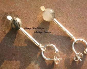 TRAILS Tourmalated Quartz, Hilltribe and Sterling Silver Earrings