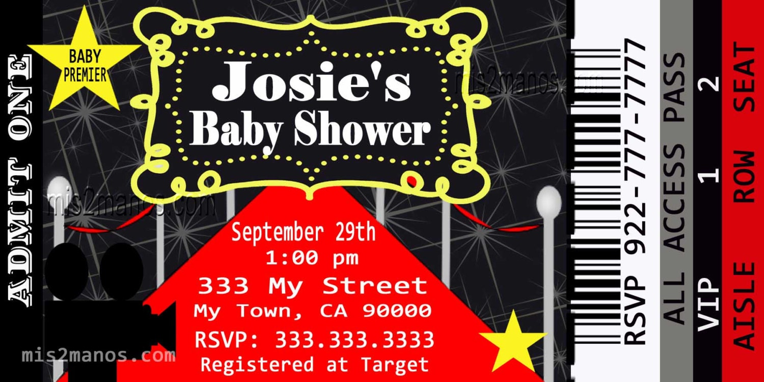 Movie Ticket Red Carpet Baby Shower Party Invitation Printable