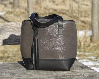 Gray leather bag-Gray leather handbag Handbag with tassel Gray handbag Gray bag with black bottom Leather Shoulder bag Leather tassel Gift