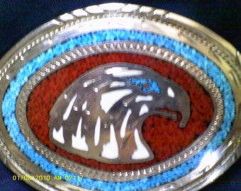 Vintage American Eagle Heavy nickel silver look.belt buckle stone inlay belt buckle, mans/women. gift quality