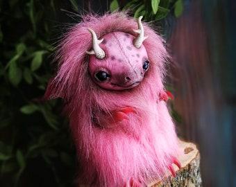 Pink Domestic Dragon Cub  - Fantasy Creature OOAK Art Doll
