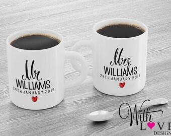 Set Of Two Mr & Mrs Bride and Groom Husband Wife Coffee Mug Tea Cup Personalised Custom Wedding Present Gift
