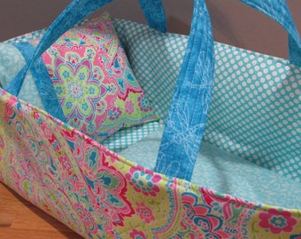 Doll Carrier, Will Fit Bitty Baby and Wellie Wisher Dolls,Modern Print with Aqua Lining, 16 Inches Long, Doll Basket