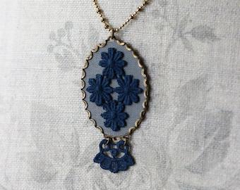 Art Nouveau Necklace, Navy Blue And Gray Large Oval Lace Pendant, Boho, Unique Jewelry For Women