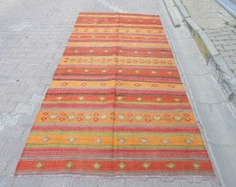 5.3x11 Ft Vintage Orange red striped Turkish kilim rug