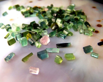Tiny Tourmaline crystals - lot of 5 or 10 green blue pink accent stone for wire wrap or vial necklace  - small tiny specimens itty bitty *o3