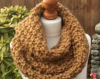 Super Chunky Alpaca and Acrylic Snood, handmade knitted neck warmer, camel colour circle infinity scarf