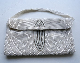 VINTAGE HANDMADE PURSE Beaded Bag| Vintage Wedding White Clutch| Vintage Small White Beaded Purse|White Wedding Purse