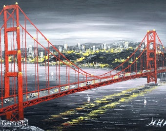"24""x36"" San Francisco-golden gate bridge-handpainted-oil on canvas-stretched"