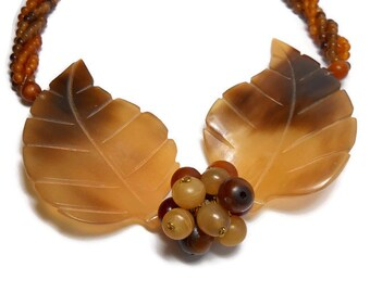 Vintage Carved Shell Leafs on Torsade Necklace