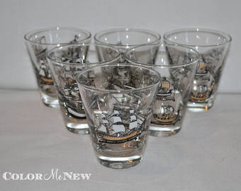 Vintage Set of 6 Double Shot Ship Glasses - Black, Gold, and White