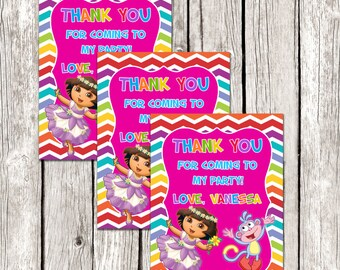 Dora Party Favors - Dora the Explorer Birthday Party - Pink Favor Tags - DIY Printable