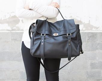 Black leather messenger bag - Leather satchel - Laptop messenger bag - MELINA bag