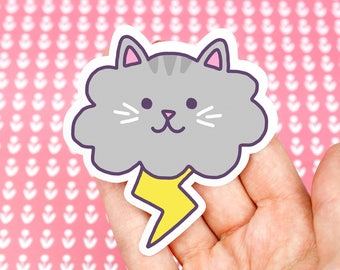 Cloud Cat, Cute Stickers, Funny Cat Stickers, Lightning Cat, Funny Decals, Vinyl Stickers, Weather Cats, Crazy Cat Lady, Laptop Stickers
