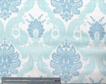 2 Tone Blue Damask - Cotton Fabric - Waverly - by the YARD