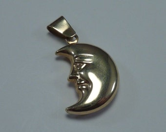 14K Yellow Gold Crescent Moon Face Pendant