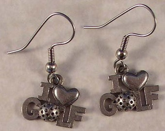 Pewter I Love Golf earrings on surgical steel french wires.
