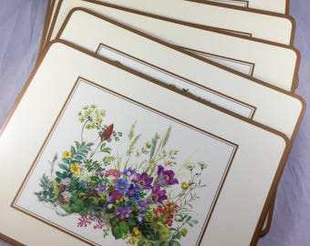 Pimpernel Set of 6 Traditional Cork-Backed Placemats in Box - Meadow Flowers Series - 12x9 inch Washable Acrylic Table Mats