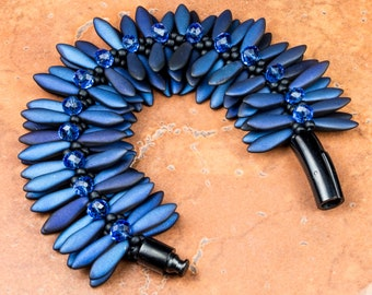 KUMIHIMO BRACELET Midnight Blue Black Czech Dagger Bracelet Gift for Her Birthday Anniversary Mother's Day Handmade Bracelet