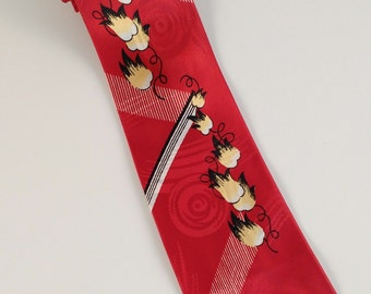 """Vintage 1940s Mens Red Floral Tie, Mid Century Tie, Lindy Hop Gifts, Swing Tie, Gifts For Him, W 4"""", Mens Accessories, 1940s Neckties"""