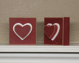 SQUARE BLOCK with red HEART for valentine and home decor