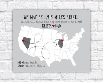 Gift for Dad from Daughter or Son, Gift for Father, Long Distance Maps, Family Sign, Moving Gift, Close Family, Customized Gift | WF614