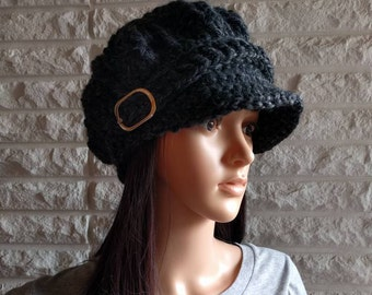 Women's newsboy hat, charcoal pageboy, women's hat with brim, women's accessories, gifts for her, fall, winter and spring fashion