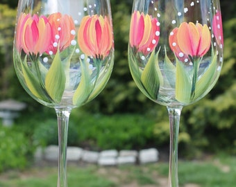 Hand Painted Wine Glasses - Tulip American Dream on Green Stem Glasses (Set of 2)