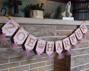Girl's Custom Name Banner with Crown, Pink and Gold Banner, Birthday Banner, Nursery Decoration, Baby Shower Banner, Baby Girl Banner