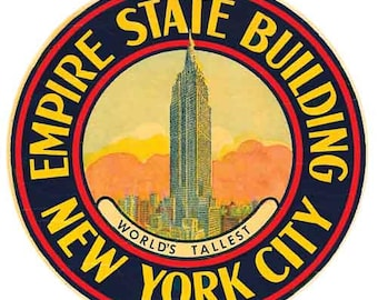 Vintage Style Empire State Building New York City  Travel Decal sticker